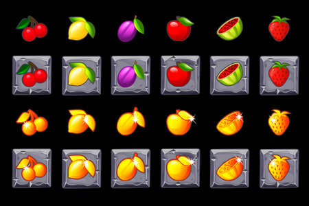 Fruits slots icon set on stone square. Game casino, slot, UI. Icons on separate layers. Illustration