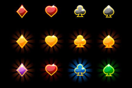 Vector Playing Card Symbols, glossy icons of playing cards on black background. Symbols on separate layers. Ilustrace