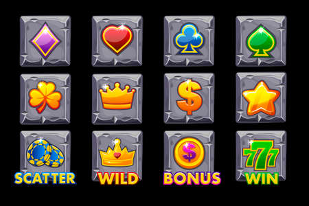 Vector Set Slots icons on stone square for slot machines or casino. Game casino, slot, UI Illustration
