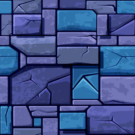 Seamless texture of old blue stone, background stone wall tiles. Illustration for user interface of the game element