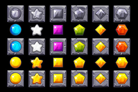 Vector Set Precious stone icons on stone square. Cartoon icons for Game, casino, slot, UI. Symbols on separate layers.
