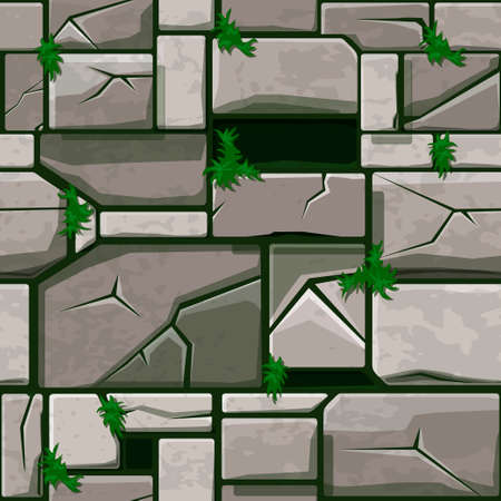 Seamless Stone texture on grass, background stone wall tiles. Vector illustration for user interface of the game element