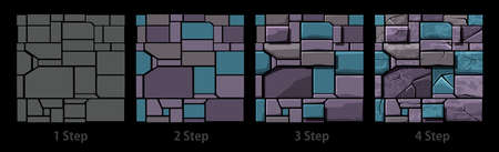 Seamless texture of old geometric stone, background stone wall tiles. Illustration for user interface of the game element