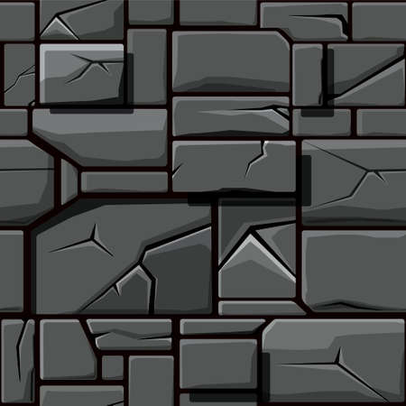 Seamless texture of gray geometric stone, background stone wall tiles. Illustration for user interface of the game element
