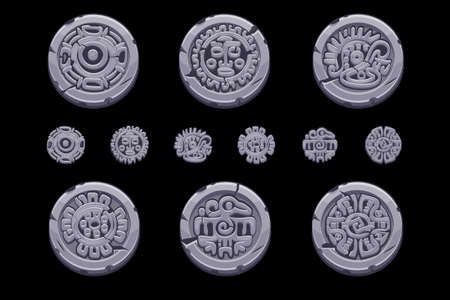 Ancient Mexican mythology symbols isolated on stone coin. American aztec, mayan culture native totem. Vector icons.  イラスト・ベクター素材
