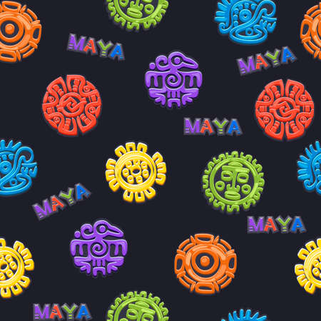 Seamless pattern Ancient Mexican mythology symbol, different Vector American aztec symbols, mayan culture native totem.