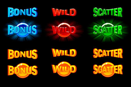Set of slots icon templates. Gold and color icons wild, bonus and scatter. For game, slots, game development. Icons on a separate layer