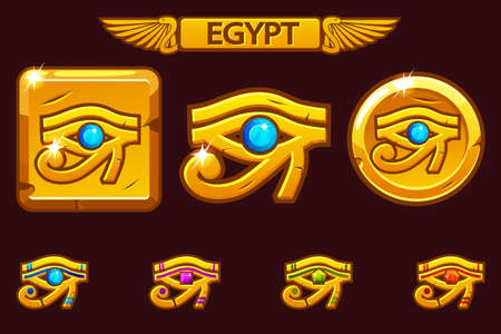 Egypt Eye of Horus with colored precious gems, golden icon on coin and square. Icons on separate layers.