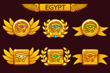 Egypt Eye with colored precious gems. Receiving achievement, vector templates Egyptian Awards. Icons on separate layers.