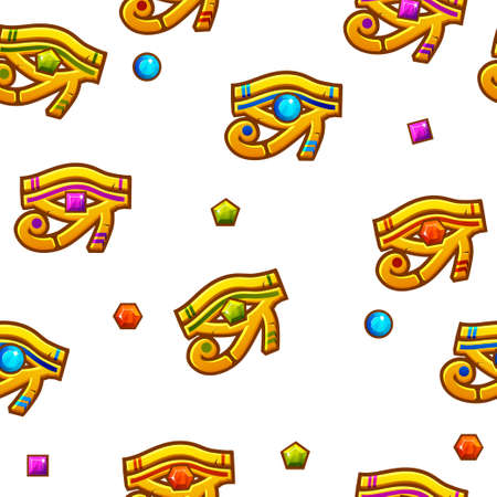 Seamless pattern Egypt Eye of Horus with colored precious gems, vector golden icon. Illustration