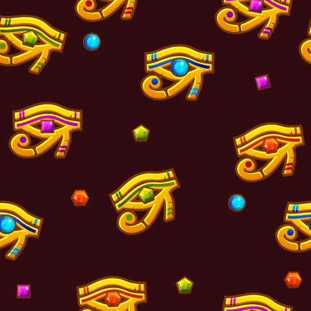 Vector Seamless pattern Egypt Eye of Horus with colored precious gems, golden icon. Illustration