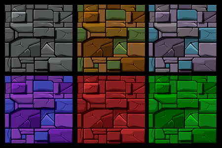Set Seamless geometrical Stone texture, background stone wall tiles. Illustration for user interface of the game element