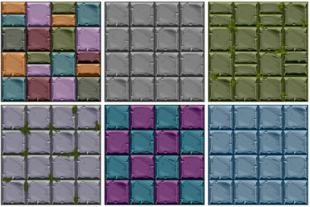 Set Seamless texture of colored stone, vector background stone wall tiles. Illustration for user interface of the game element Ilustrace