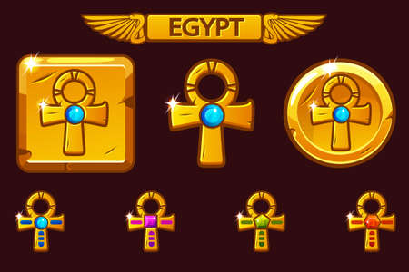 Vector Golden Cross Ankh with colored precious gems. Receiving achievement, vector templates Egyptian Awards. Icons on separate layers.