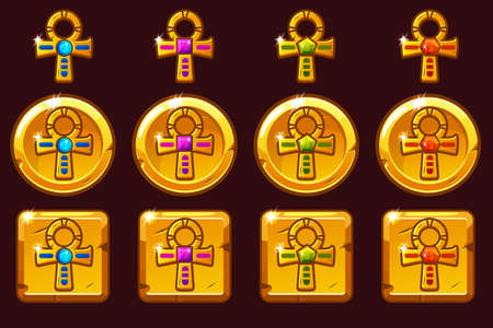 Vector Golden Cross Ankh with colored precious gems. Egyptian golden icons in different versions on separate layers.