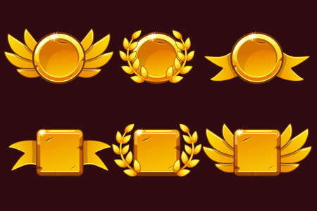 Template Receiving game achievement. Vector illustration with Golden old awards. For game, user interface, banner, application, interface, slots, game development. Icons on separate layers. Ilustrace