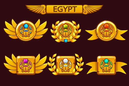 Receiving the cartoon game achievement. Egyptian awards with scarab symbol. For game, user interface, banner, application, interface, slots, game development.
