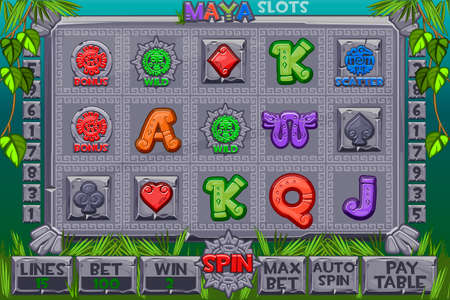 Vector Aztec Slots stone icons. Complete menu of graphical user interface and full set of buttons for classic casino games creation. Interface slot machine in Maya style. Game casino, slot, UI.