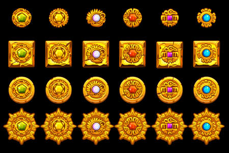 Vector Maya icons. American aztec, mayan culture golden symbols. Isolated on separate layers.