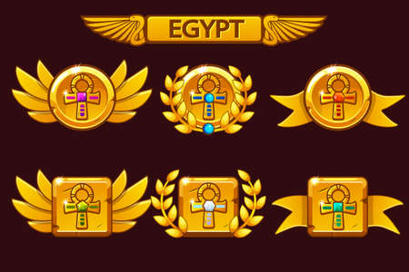Receiving the cartoon game achievement. Egyptian awards with Golden Cross Ankh symbol. For game, user interface, banner, application, interface, slots, game development. Icons on separate layers. Ilustrace