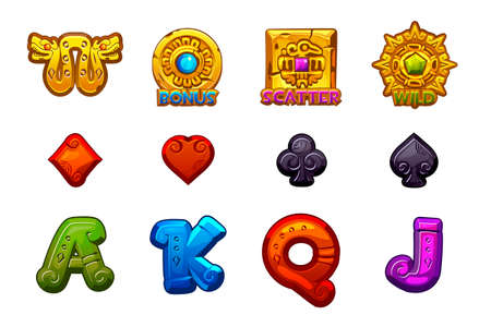 Cartoon MAYA Slots stone icons. Ancient Mexican mythology Vector symbols. Game casino, slot, UI. Set Icons on separate layers.