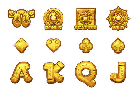 Cartoon MAYA Slots golden icons. Ancient Mexican mythology Vector symbols. Game casino, slot, UI. Set Icons on separate layers.