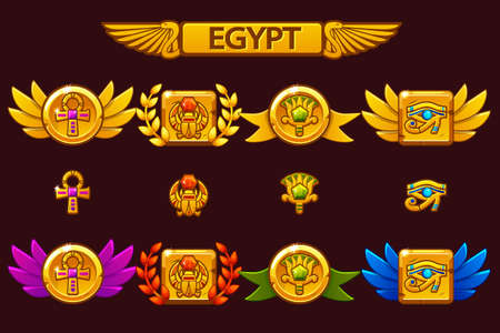 Premi egiziani vettoriali con Scarabeo, Occhio, fiore e Croce. Ricevere l'obiettivo del gioco dei cartoni animati con gemme preziose colorate. Vettoriali
