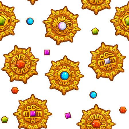 Seamless pattern Aztec symbols with colored precious gems