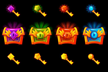 Treasure chest with precious stones and golden keys, vector icons. Icons on separate layers.