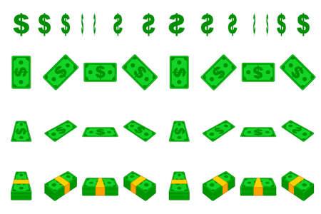 Animation money paper dollar step by step. Cartoon wad of cash in different positions isolated on separate layers. Flat design. Ilustrace
