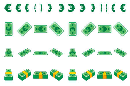 Animation money paper Euro step by step. Cartoon wad of cash in different positions isolated on separate layers. Flat design. 矢量图像