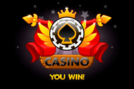 Casino awards. Casino rating icons with poker chip and ribbon. Vector illustration for casino, slots and game UI. Objects on a separate layer Ilustrace
