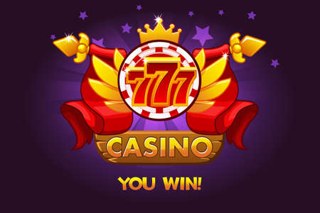 Casino awards 777. Casino rating icons with poker chip and ribbon. Vector illustration for casino, slots and game UI. Objects on a separate layer Ilustrace
