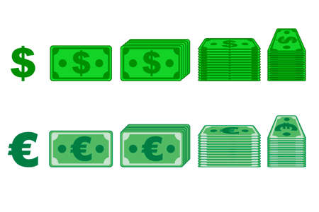 Money paper Dollar and Euro Vectors in different positions isolated on separate layers. Flat design. Vector Game element