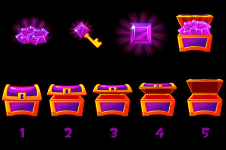 Animated treasure chest with purple precious gem. Step by step, full and empty, open and closed box. Vector Icons on separate layers.