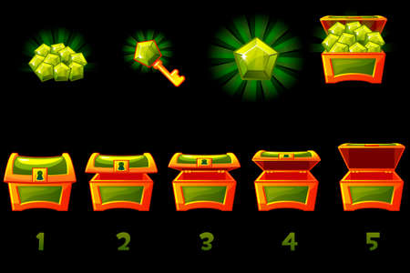 Animated treasure chest with green precious gem. Step by step, full and empty, open and closed box. Vector Icons on separate layers.