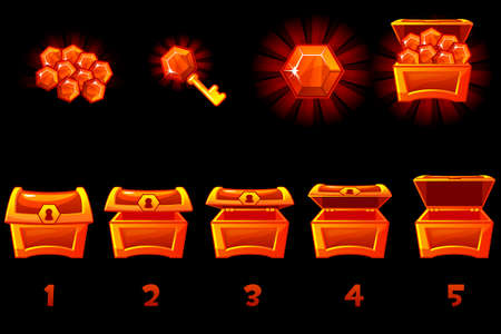 Animated treasure chest with red precious gem. Step by step, full and empty, open and closed box. Vector Icons on separate layers.