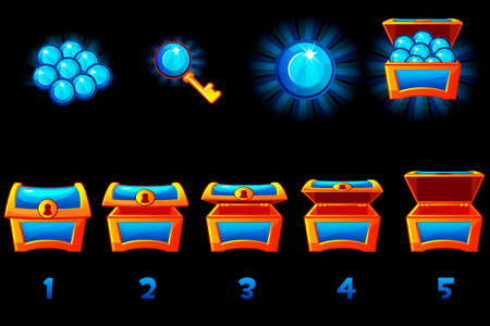 Animated treasure chest with blue precious gem. Step by step, full and empty, open and closed box. Vector Icons on separate layers. Ilustrace