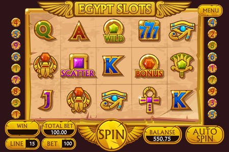 EGYPT style Casino slot machine game. Vector complete Interface Slot Machine and buttons on separate layers. Illustration