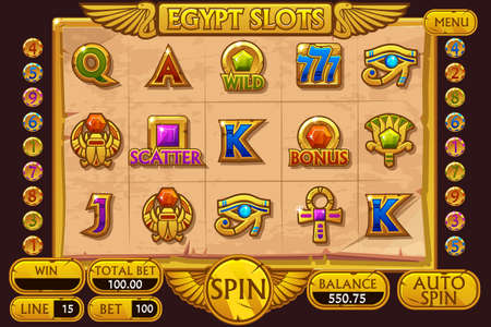 EGYPT style Casino slot machine game. Vector complete Interface Slot Machine and buttons on separate layers. Çizim