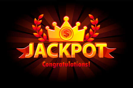 Jackpot gold casino lotto label with crown. Casino jackpot winner awards with golden text and red ribbon. Vector objects on separate layers. Vettoriali