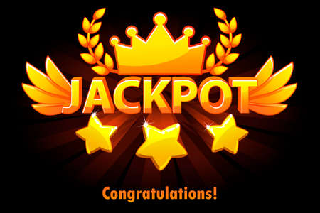 Jackpot gold casino lotto label with shooting stars on black background. Casino jackpot winner awards with golden text and wings. Objects on separate layers. Illustration