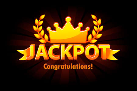 Jackpot gold casino lotto label with crown on black background. Casino jackpot winner awards with golden text and ribbon. Vector objects on separate layers.