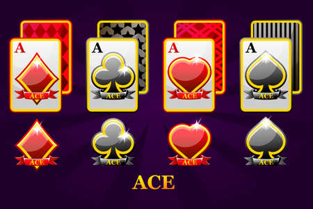 Set of four Aces playing cards suits for poker and casino. Set of hearts, spades, clubs and diamonds Ace. Icons on separate layers.