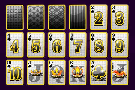 Clubs Suit Poker Carte da gioco per poker e casinò. I simboli giocosi della raccolta firmano il mazzo dello sciocco. Icone vettoriali su livelli separati.