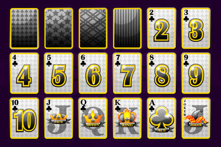 Clubs Suit Poker Playing Cards for poker and casino. Playful collection symbols sign fool deck. Vector Icons on separate layers.