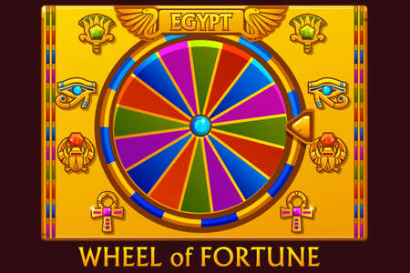 Wheel of fortune in egyptian style for UI game and casino. Vector Icons on separate layers. Illustration