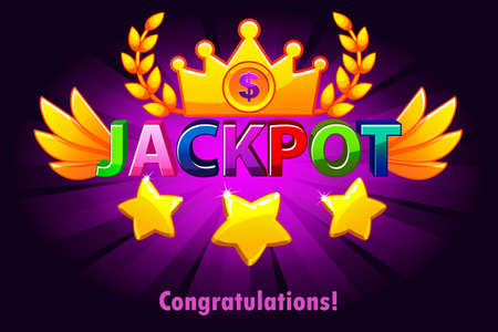 Jackpot casino label with shooting stars on violet background. Casino jackpot winner awards with colored text and wings. Vector Objects on separate layers.