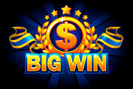 Big win game concept. Casino game background isolated. Bonus badge, dollar sign and ribbon. Casino slot winner banner signboard. Vector Objects on separate layers.