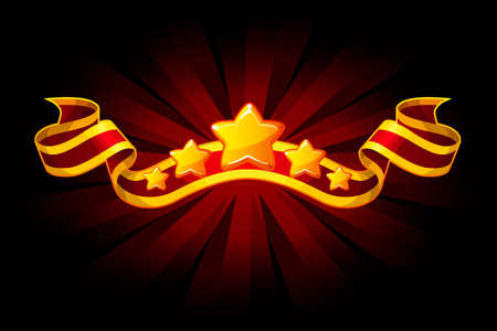 Award red ribbon with golden stars for UI game resources. Vector Objects on separate layers.